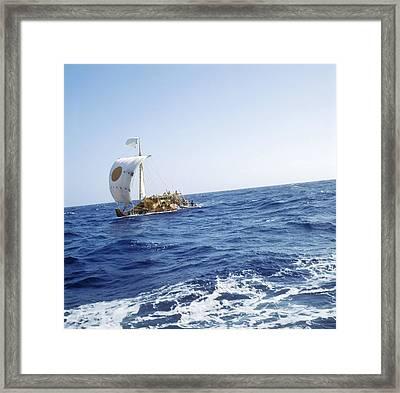 Ra-2 Papyrus Boat In The Atlantic Ocean Framed Print by Ria Novosti