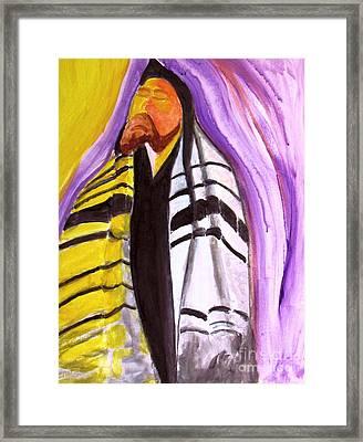 Rabbi Praying With Kabbalah Framed Print by Stanley Morganstein
