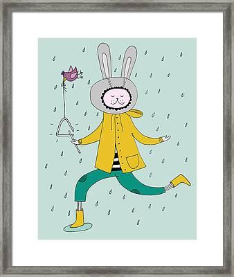 Rabbit In Rain Framed Print by Kristina Timmer