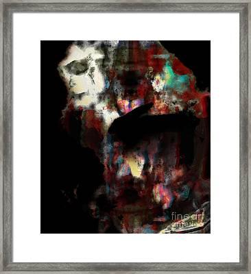 Rabbit With Human Head Framed Print by Diane Falk
