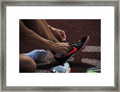 Race Preperations Framed Print by Mike Martin