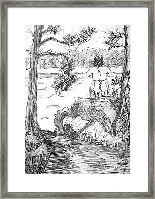 Framed Print featuring the painting Rachel On The Rocks by Gretchen Allen