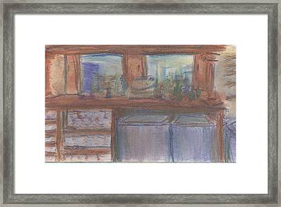 Framed Print featuring the pastel Rachel's Office by Denny Morreale