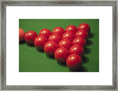 Racked Snooker Balls On A Pool Table Framed Print