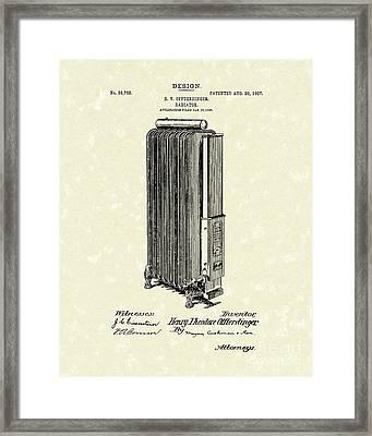 Radiator 1907 Patent Art Framed Print by Prior Art Design