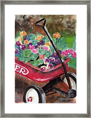 Radio Flyer Garden Framed Print by Sheryl Heatherly Hawkins