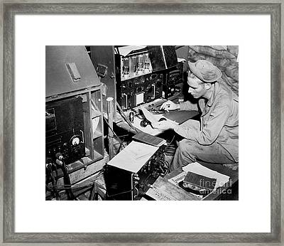 Radio Operator Operates His Scr-188 Framed Print