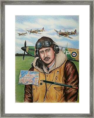 Raf Wartime Pilot And Pencil Framed Print by Andrew Read