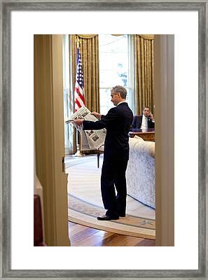 Rahm Emanuel Looks At A Newspaper Framed Print