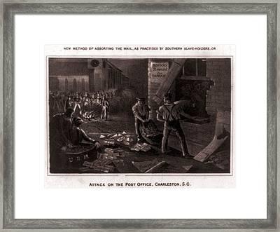 Raid On The Charleston Post Office Framed Print by Everett