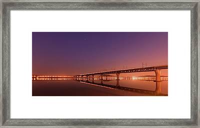 Rail Bridge On Han River Framed Print
