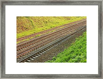 Rail Lines In Hollow Framed Print