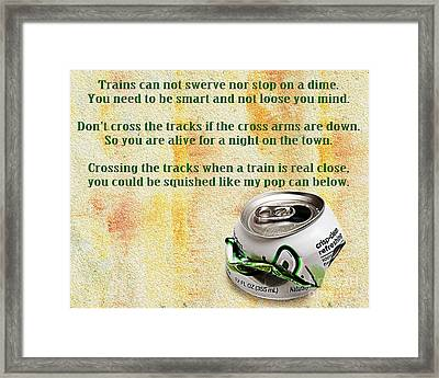 Rail Road Safety In Green Framed Print by Andee Design