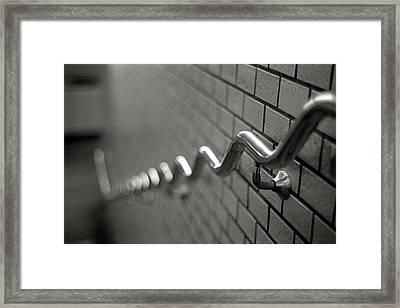 Railing On Wall Framed Print by Colin Barey