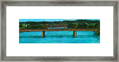 Railroad Bridge At Lady Bird Lake Austin Texas Framed Print