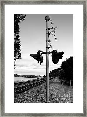 Railroad Crossing Light . Black And White Framed Print by Wingsdomain Art and Photography