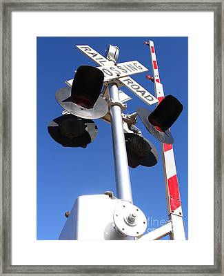Railroad Crossing Sign And Gate . 7d10645 Framed Print by Wingsdomain Art and Photography