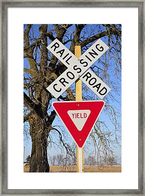 Railroad Crossing, Sycamore, Illinois, Usa, December 2010 Framed Print by Bruce Leighty