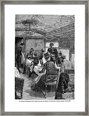 Railroad: Dining Car, 1880 Framed Print by Granger