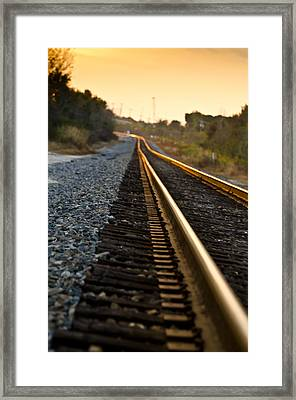 Railroad Tracks At Sundown Framed Print by Carolyn Marshall