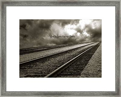 Railroad Tracks Storm Clouds Inspirational Message  Framed Print by Kathy Fornal