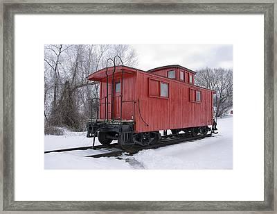 Railroad Train Red Caboose Framed Print
