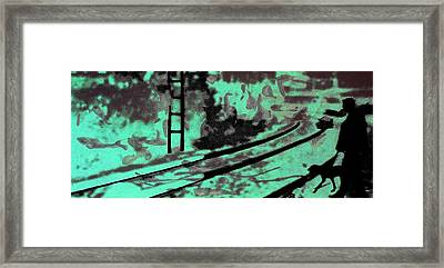 Railway - Schattenbild Siebdrucktechnik Framed Print by Arte Venezia