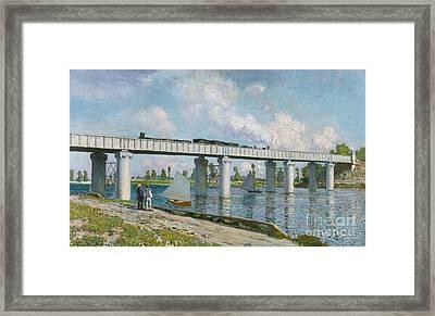 Railway Bridge At Argenteuil Framed Print by Claude Monet