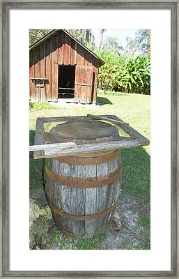 Rain Barrel An Smoke House Framed Print by Sheri McLeroy