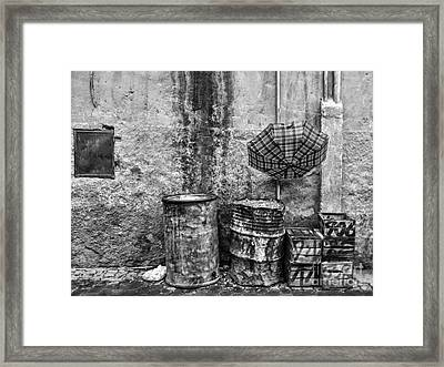 Rain Bw Marrakesh Framed Print by Chuck Kuhn