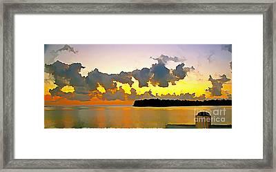 Rain Clouds At Sunset Framed Print by Joan McArthur