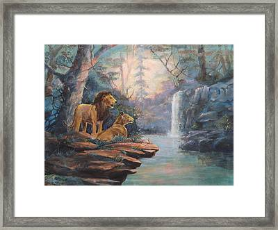 Rain Forest Waterfall Framed Print