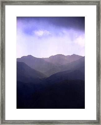 Rain On The Distant Hills Framed Print by Catherine Natalia  Roche