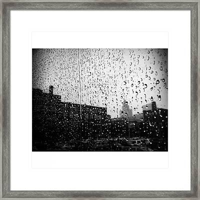 #rain #raindrops #window #toronto Framed Print
