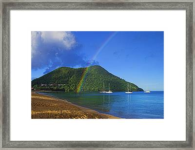 Framed Print featuring the photograph Rainbow And Boats- St Lucia by Chester Williams