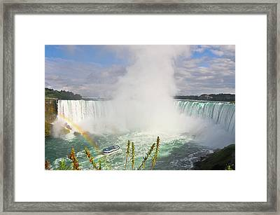 Rainbow At Niagara Falls Framed Print by Aaron Reker Photography