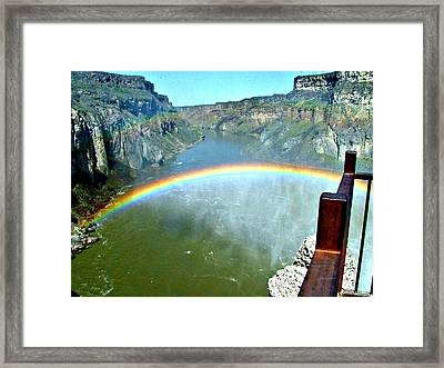 Rainbow At Shoshone Falls Id Framed Print