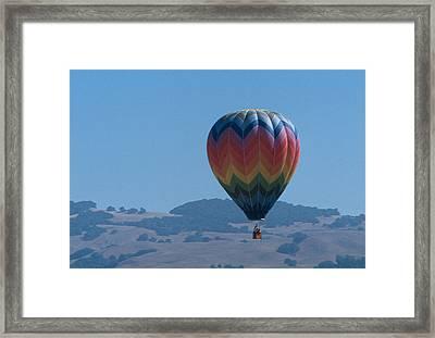 Rainbow Balloon Over Hills Framed Print