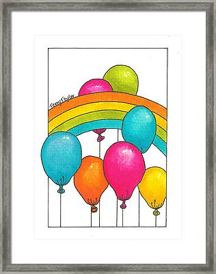 Framed Print featuring the painting Rainbow Balloons by Terry Taylor