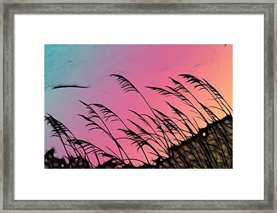 Rainbow Batik Sea Grass Gradient Silhouette Framed Print