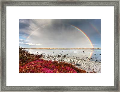 Rainbow By The Lake Framed Print