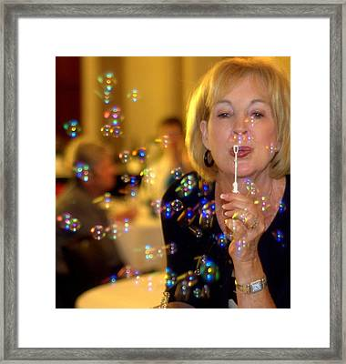 Rainbow Colored Bubbles  Framed Print by Gloria  Shelton