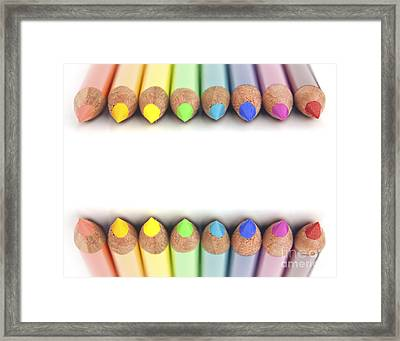 Rainbow Colored Pencils Framed Print by Blink Images