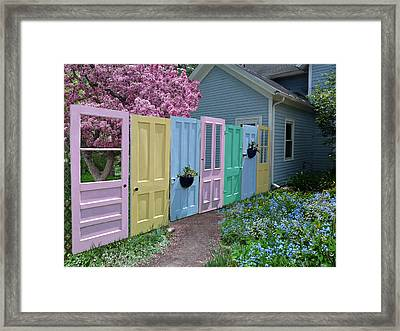 Framed Print featuring the photograph Rainbow Doors by Judy  Johnson