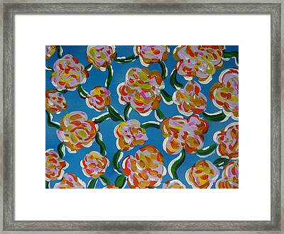Framed Print featuring the painting Rainbow Flowers Blue by Gioia Albano