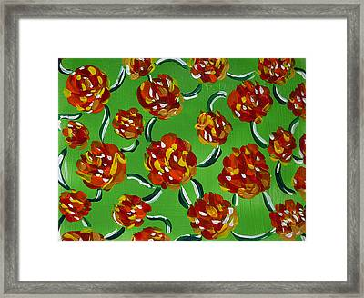 Framed Print featuring the painting Rainbow Flowers Green by Gioia Albano