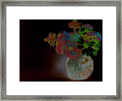 Rainbow Flowers In Glass Globe Framed Print by Padre Art