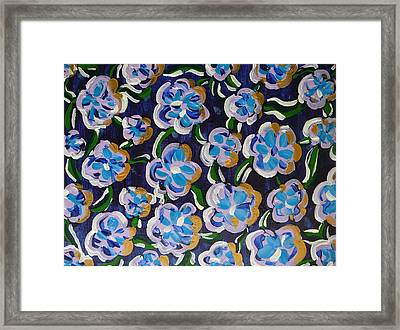 Framed Print featuring the painting Rainbow Flowers Indaco by Gioia Albano