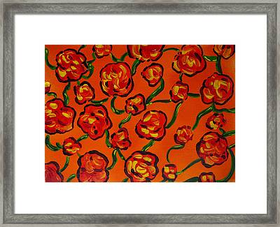 Framed Print featuring the painting Rainbow Flowers Orange by Gioia Albano