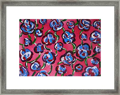 Framed Print featuring the painting Rainbow Flowers Red by Gioia Albano